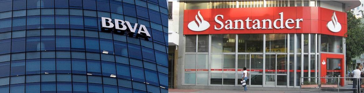 Logotipos de Santander y BBVA