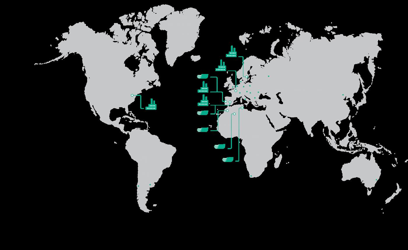 Diversificación geográfica Corticeira Amorim