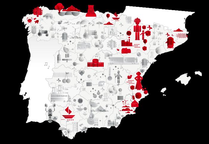 Mapa distribución geográfica del negocio de EDP