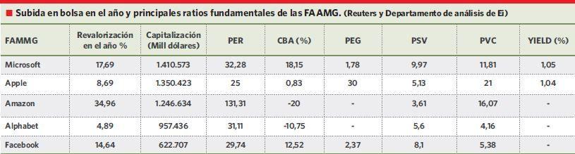 Tabla de datos fundamentals de las FAAMG