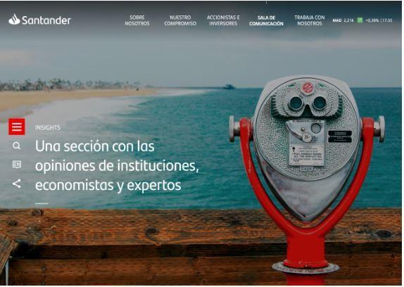 Santander abre nuevo espacio en su web corporativapara analizar el impacto económico de la pandemia