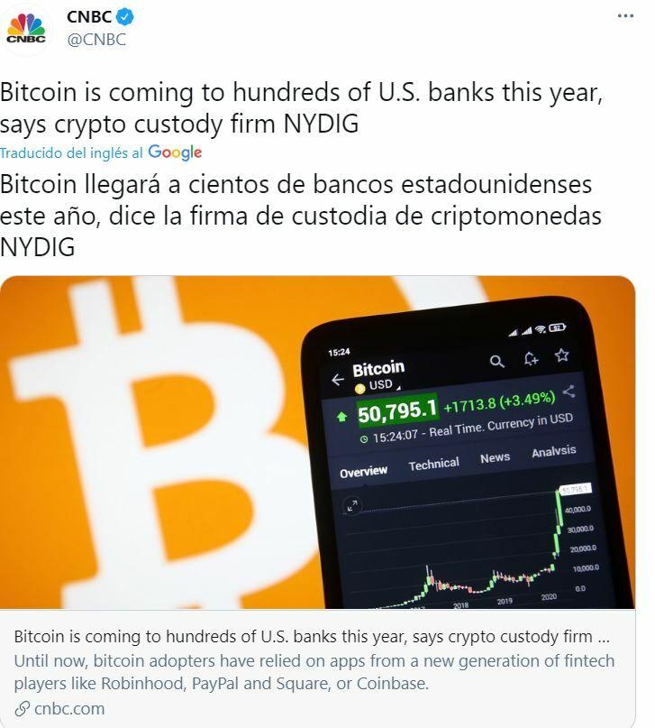 Tuit Bitcoin CNBC