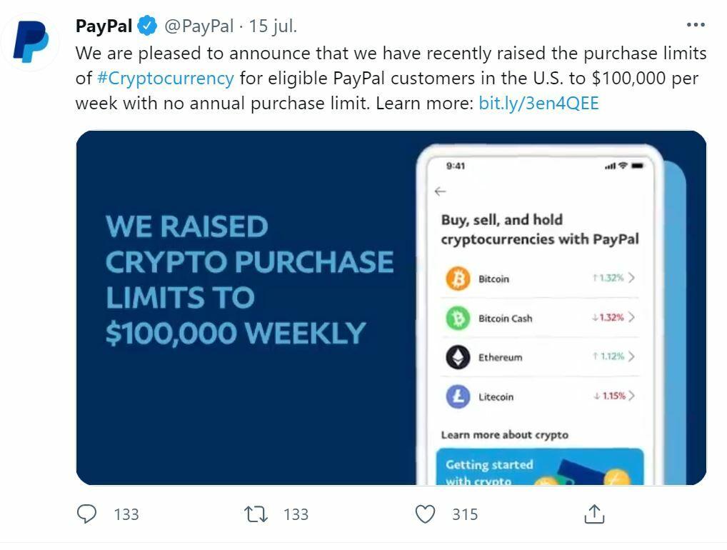 PayPal tuit tope 100.000 dólares en las cripto