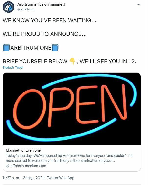 Ethereum tuit sobre Arbitrum
