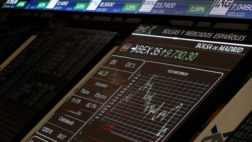 Pizarra electrónica en la Bolsa de Madrid